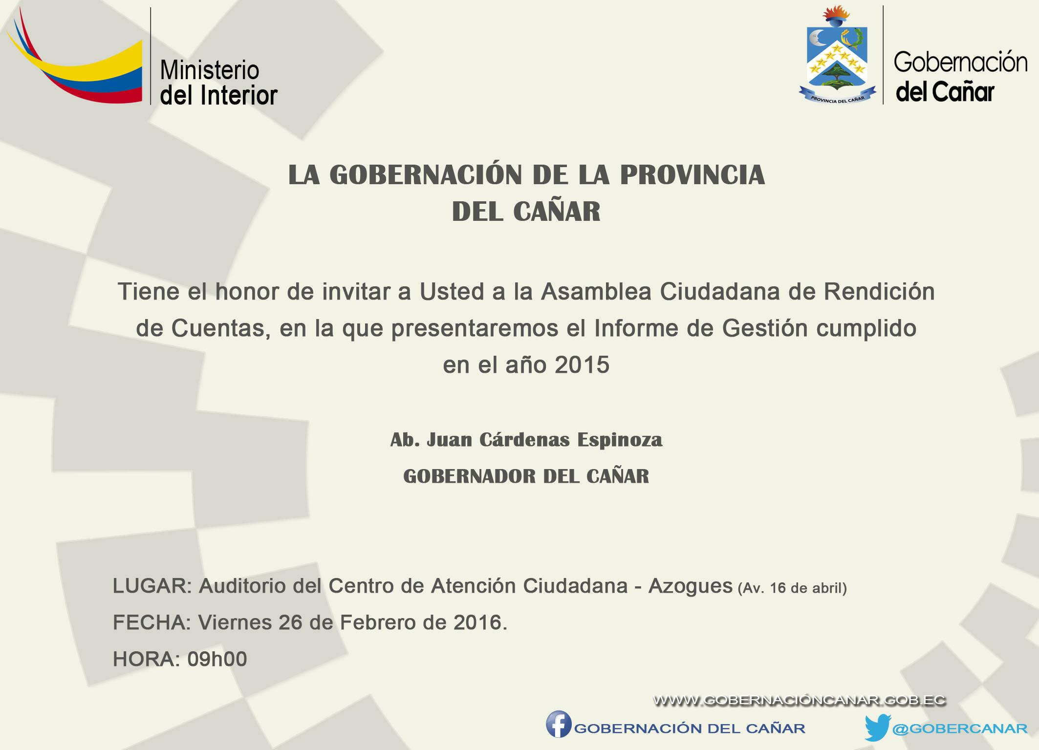 INVITACIÓN GOBERNACIÓN DEL CAÑAR